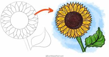 How to draw a sunflower - step-by-step-drawing tutorial featured image