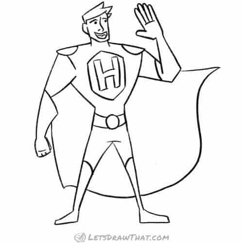 How to draw a superhero: completed pencil outline