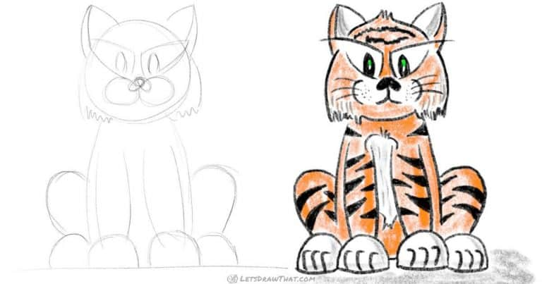 How to draw a tiger – easy cartoon style - step-by-step-drawing tutorial featured image