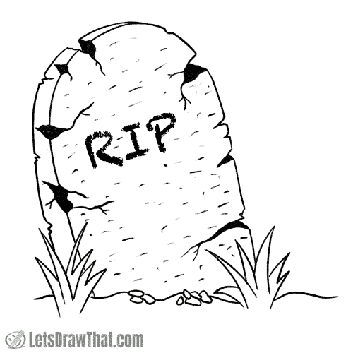 How to draw a tombstone: finished outline drawing