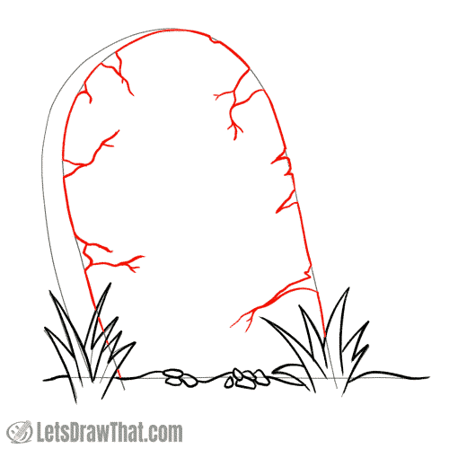 Drawing step: Draw the cracks on the tombstone's front face