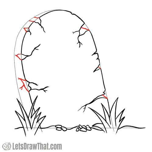 Drawing step: Draw the cracks on the tombstone side