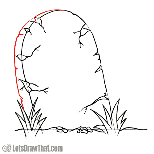 Drawing step: Draw the rear edge of the tombstone