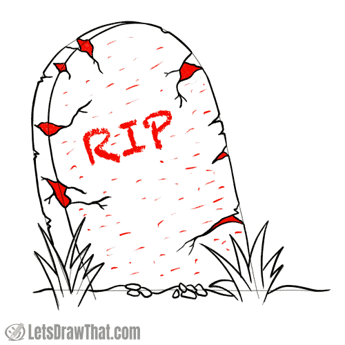Drawing step: Add the tombstone letterring and texture