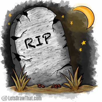 Tombstone drawing coloured-in