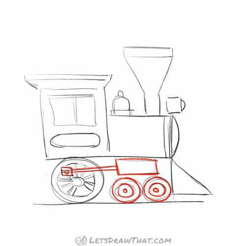 Draw the wheels and drive train