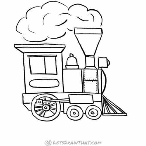 How to draw a train steam locomotive: complete pencil outline