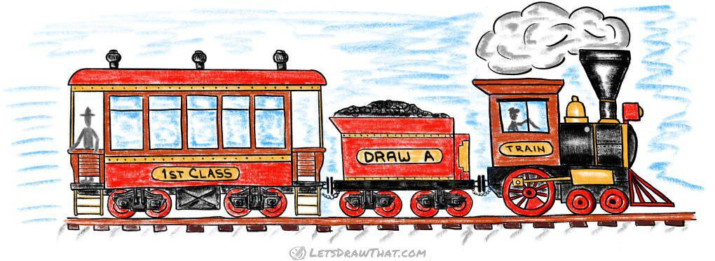 How to draw a train: complete locomotive, tender and passenger wagon joined together