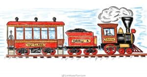 How to draw a train from simple shapes - step by step drawing tutorial