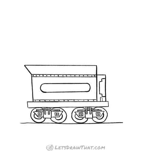 How to draw a train coal car: completed pencil outline drawing