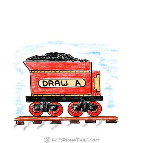 How to draw a train coal car: complete coloured-in drawing