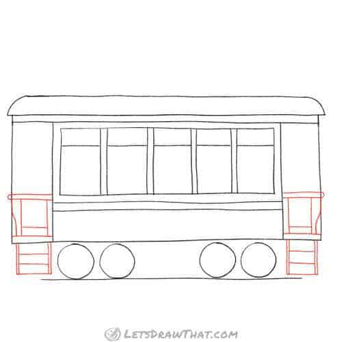 Draw the side steps, doors, and rails