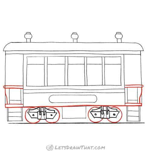 Outline the wheels and bottom of the wagon
