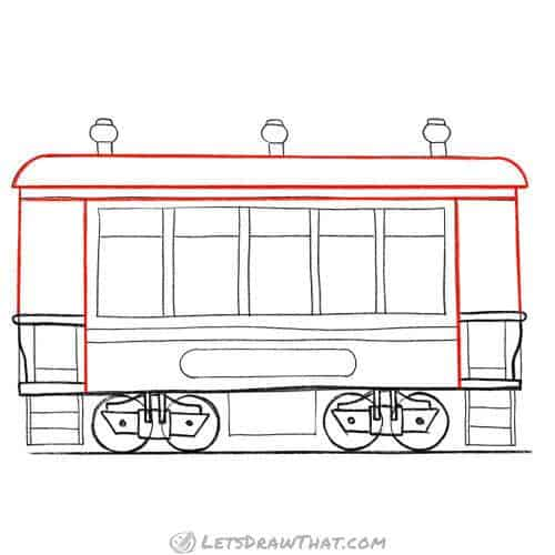 Outline the roof and wagon body