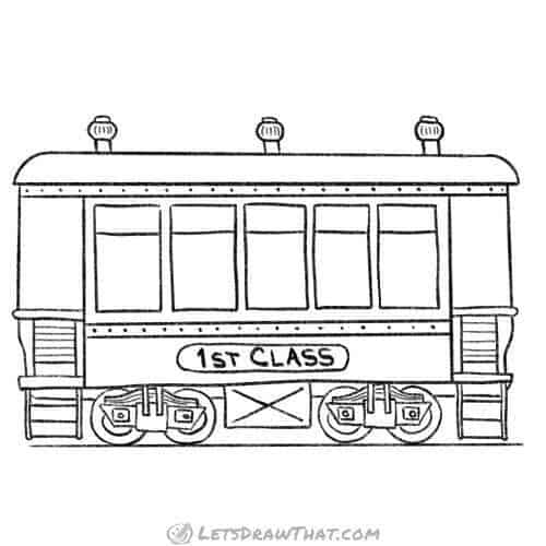How to draw a train passenger wagon: completed pencil outline