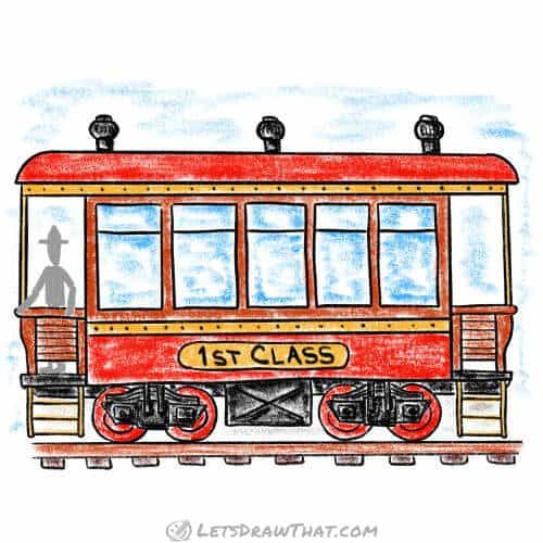How to draw a train passenger wagon: complete coloured-in drawing
