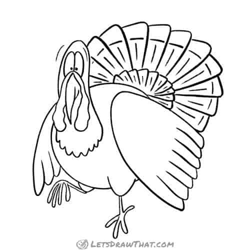 How to draw a turkey - completed outline drawing