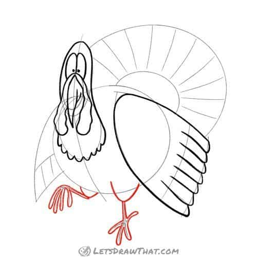 Draw the turkey's legs and feet