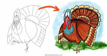 How to draw a turkey - easy cartoon style - step-by-step-drawing tutorial featured image