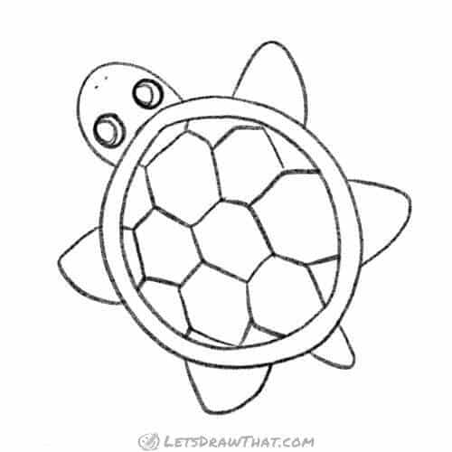 How to draw a turtle from a simple top view - completed pencil outline