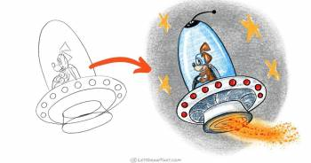 How to draw a UFO with an astronaut - step-by-step-drawing tutorial featured image