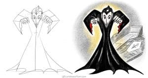 How to draw a vampire - simple, elegant and creepy - step-by-step-drawing tutorial featured image