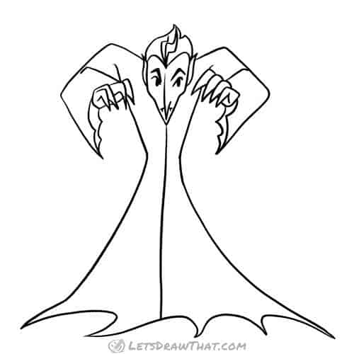 How to draw a vampire: completed pencil outline