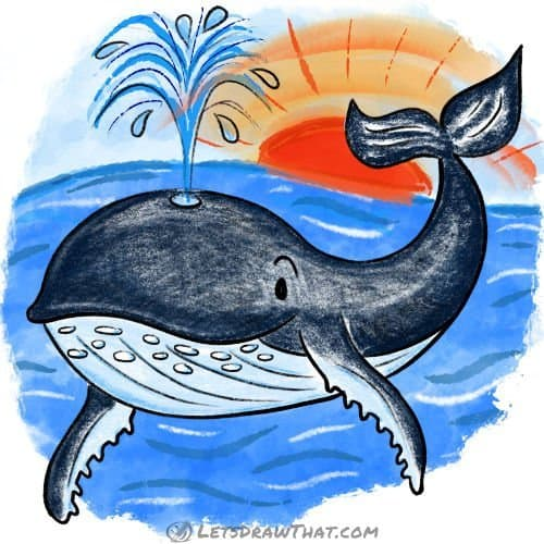 How to draw a whale: complete coloured in drawing