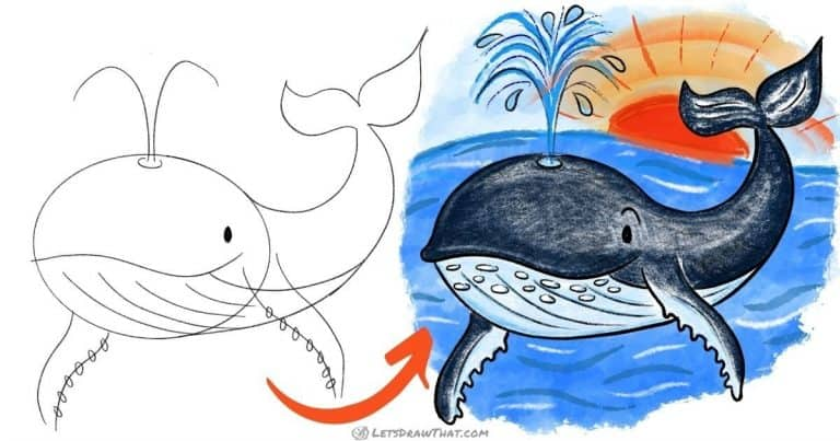 How to draw a whale - cute and cheeky cartoon style - step-by-step-drawing tutorial featured image