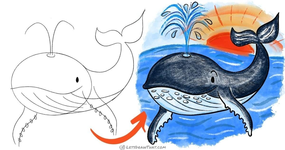 How to draw a whale: step-by-step drawing tutorial