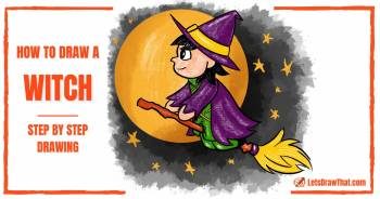 How to draw a witch: a cute cartoon witch drawing for Halloween - step-by-step-drawing tutorial featured image