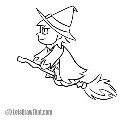 How to draw a witch: finished outline drawing