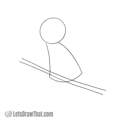 Drawing step: Sketch the head and body shapes