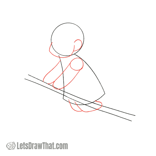 Drawing step: Draw the witch's chin, arms and legs