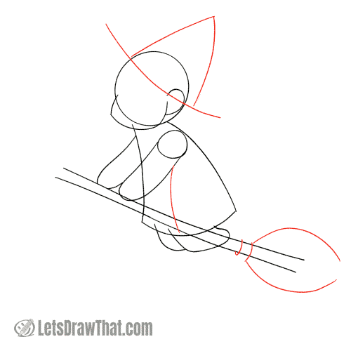 Drawing step: Sketch the hat and broom