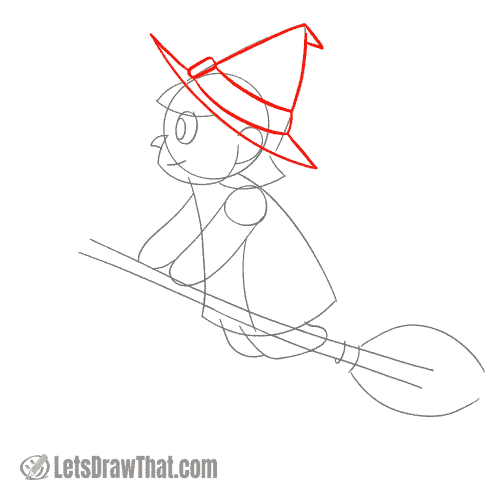 Drawing step: Draw the witch's hat