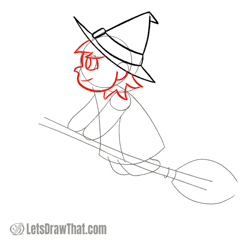Drawing step: Draw the witch's face and hair