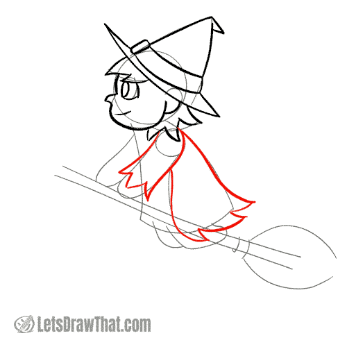Drawing step: Draw the witch's cape