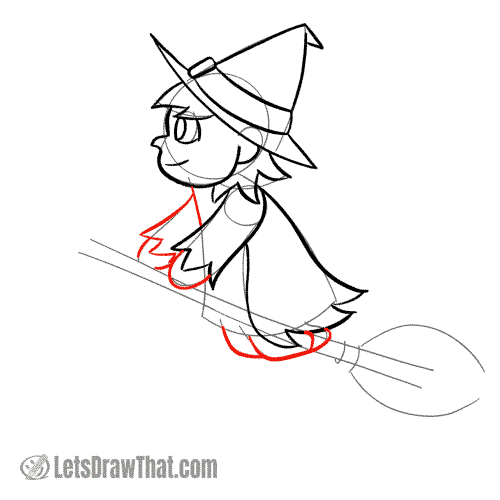Drawing step: Draw the witch's arms and legs