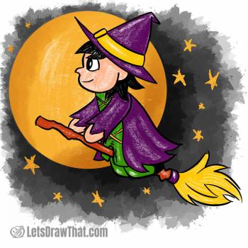 Witch drawing coloured-in