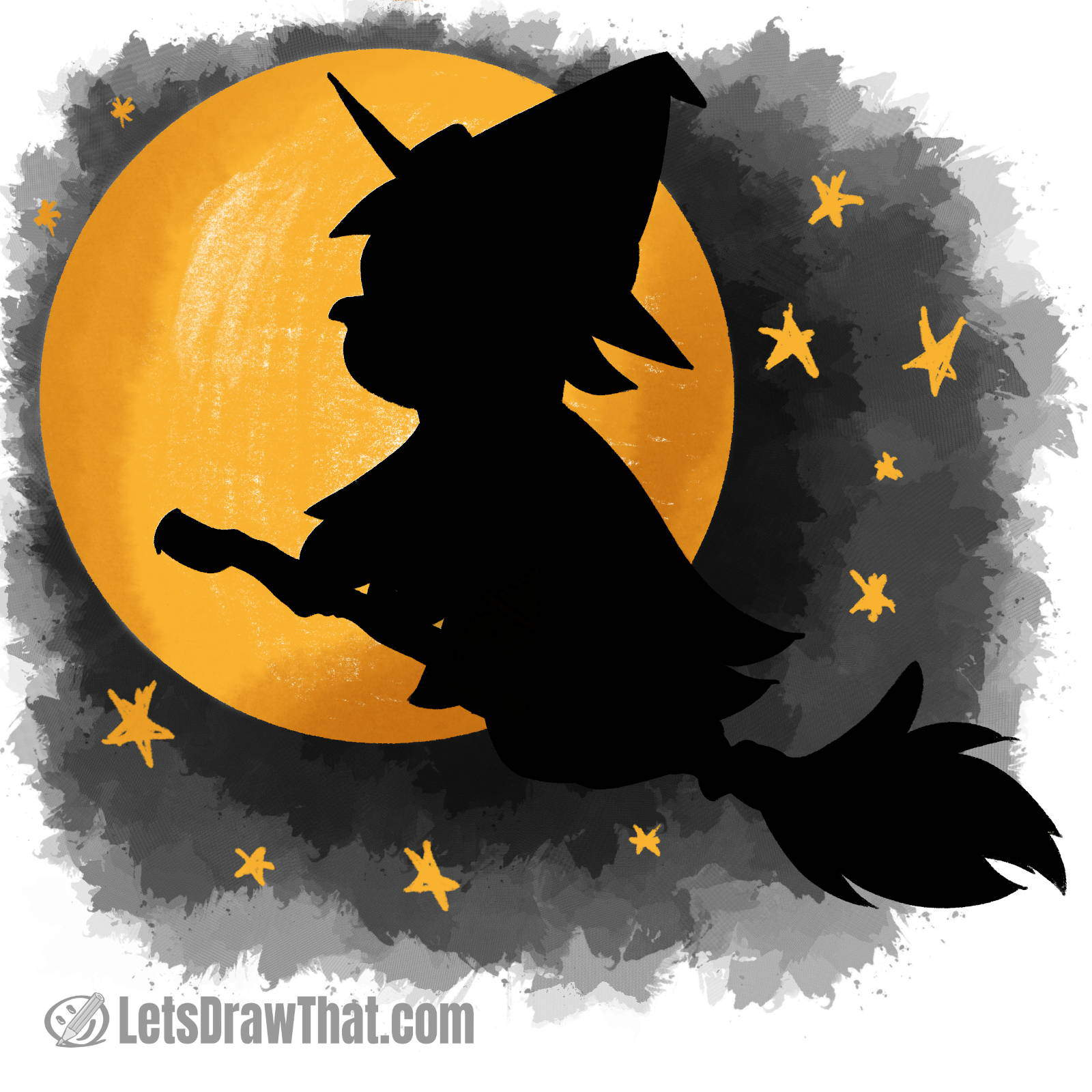 Witch silhouette drawing